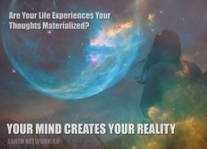 Woman creating earth at night with her mind and consciousness