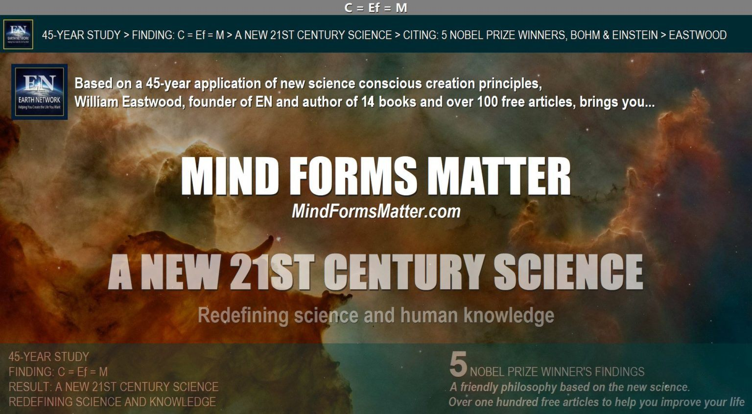 Mind forms matter brings you a new science in which it is known that mind can and does create matter and reality. Five Nobel Prize winners confirm. Your thoughts create your reality.