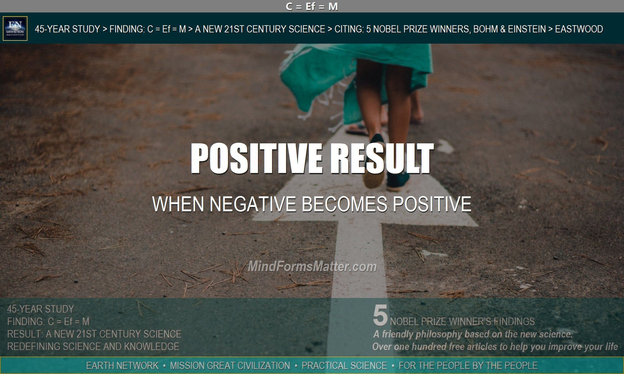 Person walking depicts how an event that is negative in the short-term can have a positive result in the long run.