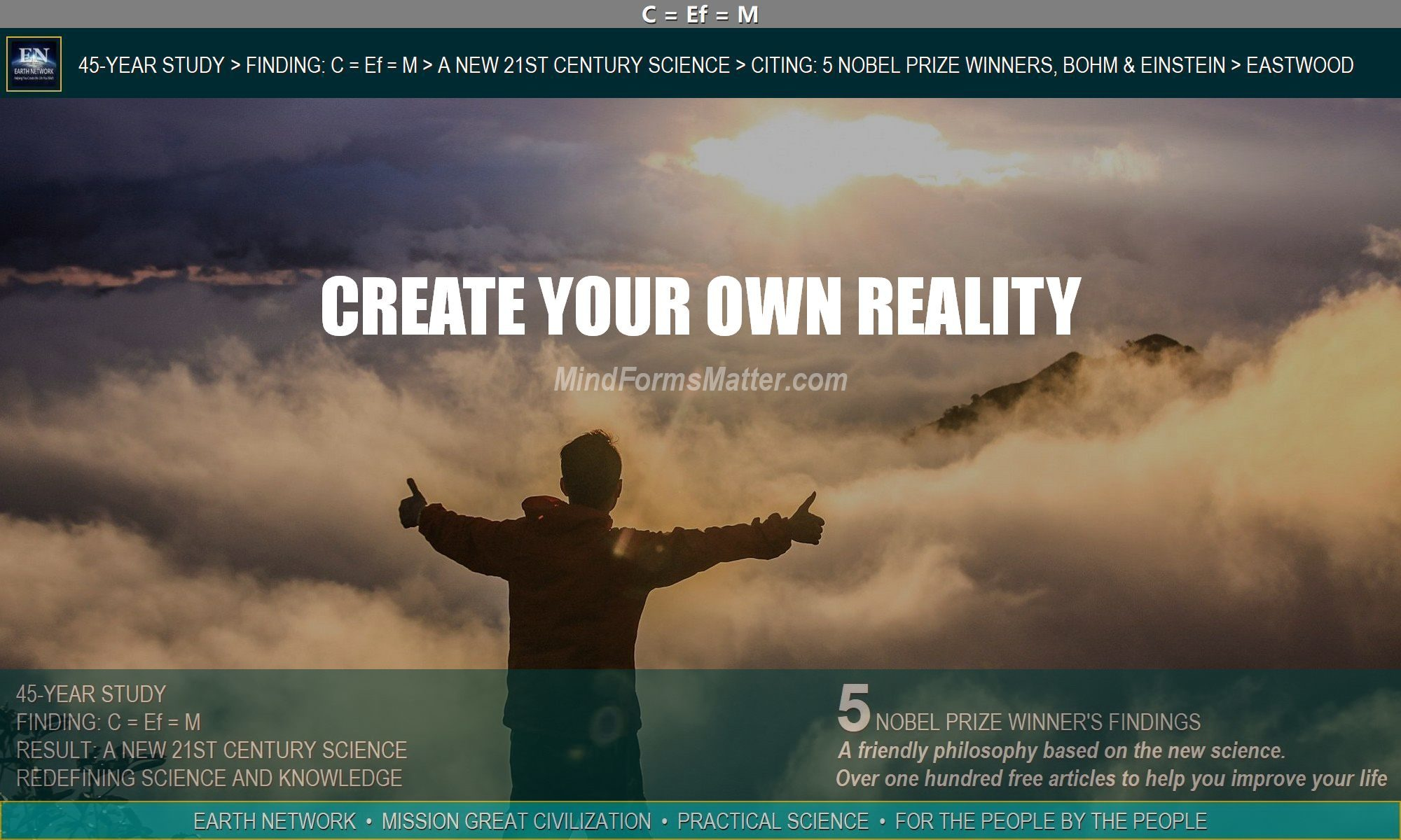 Man on mountain looking at sunrise tells us you can create your own reality and how to do it.