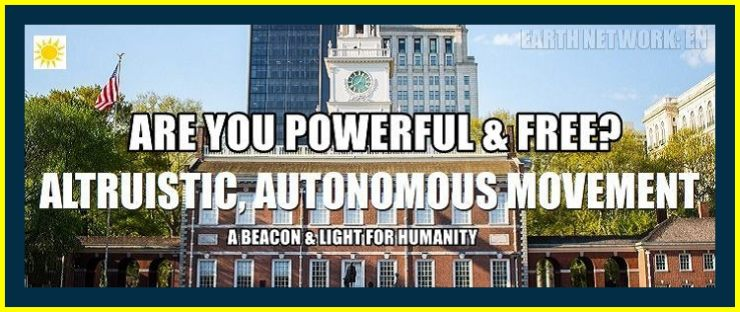 Altruistic movement and enlightenment icon with independence hall