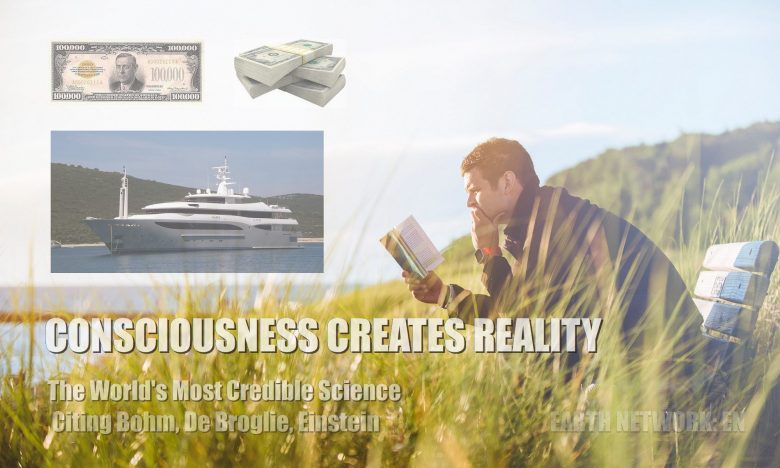 Man reading book on beach manifesting yacht and money