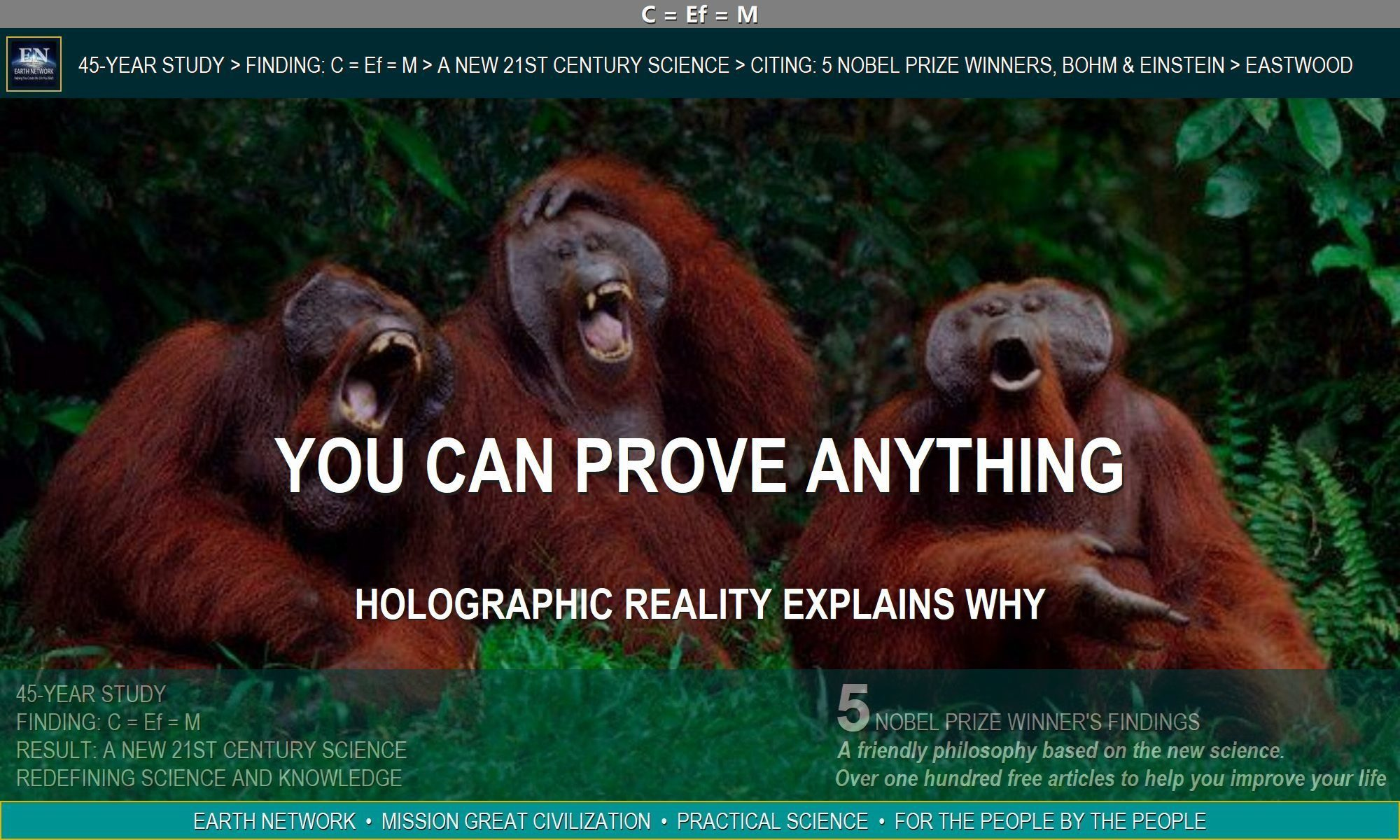 apes laughing because you can prove anything or any fact and reality
