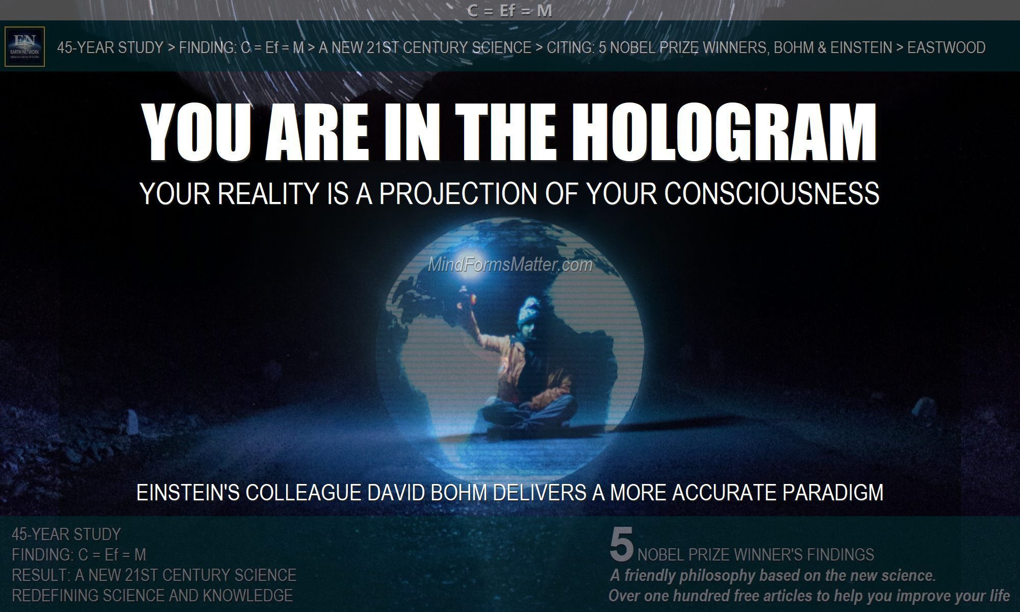 Man in hologram of earth depicts the fact that your reality is a holographic projection of your consciousness mind brain and five senses.