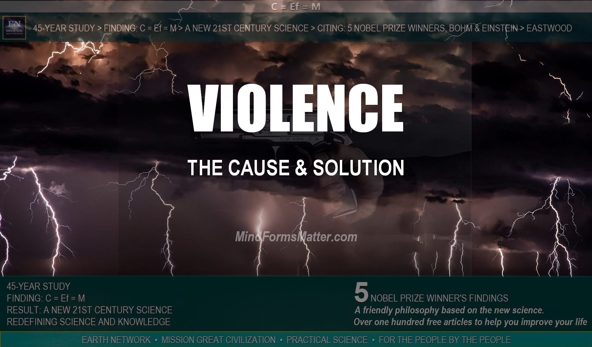 A gun depicts the cause and problem of gun violence. Lightening depicts the solution to mass shootings and violence.